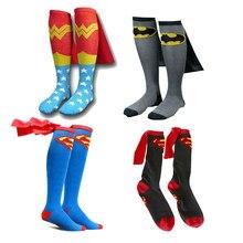 11794a5aa10 Mens Cotton Socks MARVEL Super Hero Superman Batman Knee High With Cape  Stockings Cosplay Costume Socks