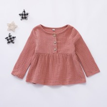 MUQGEW/платье для маленьких девочек; платье принцессы с длинными рукавами и пуговицами для маленьких девочек; праздничное платье с круглым вырезом для малышей; одежда