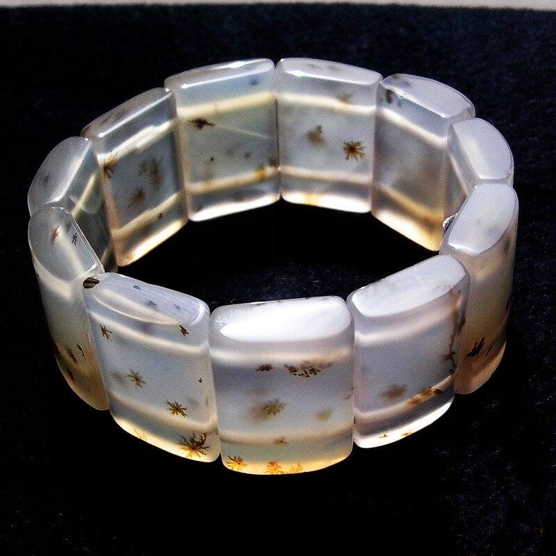 ONEVAN large transparent 100% naturel un Rectangle femmes aquatique croissance des mauvaises herbes douce agate bracelet bracelet avec certificat