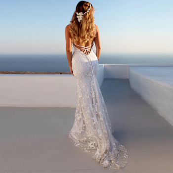 Summer White Lace Long Dress Bohemian Low Back Backless Open Mermaid Dresses Female Vestidos Honeymoon Trip Clothes