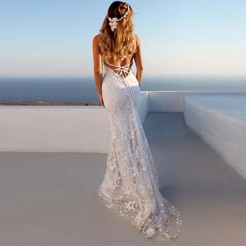 Summer White <font><b>Lace</b></font> Long <font><b>Dress</b></font> Bohemian Low Back <font><b>Backless</b></font> Open Back <font><b>Dress</b></font> Mermaid <font><b>Dresses</b></font> Female Vestidos Honeymoon Trip Clothes image