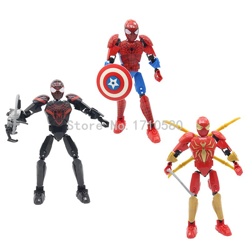 Super Heroes Figures Black Spider Man Red Spiderman Captain America Building Blocks Sets Model Kids Toys No Original Box