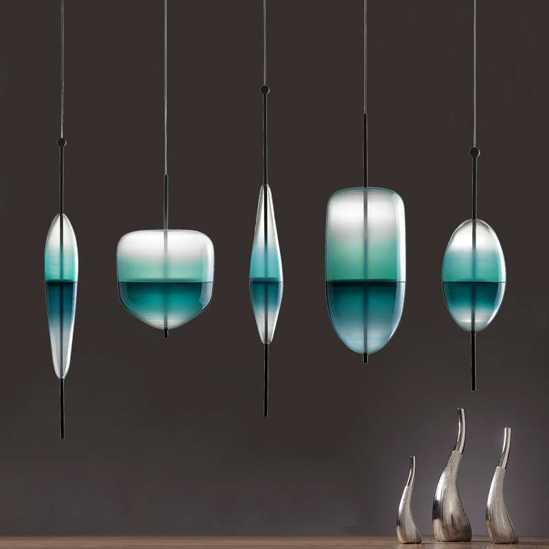 Art deco  flow glass pendant light  modern gradient color glass drop light for  hotel bar cafe