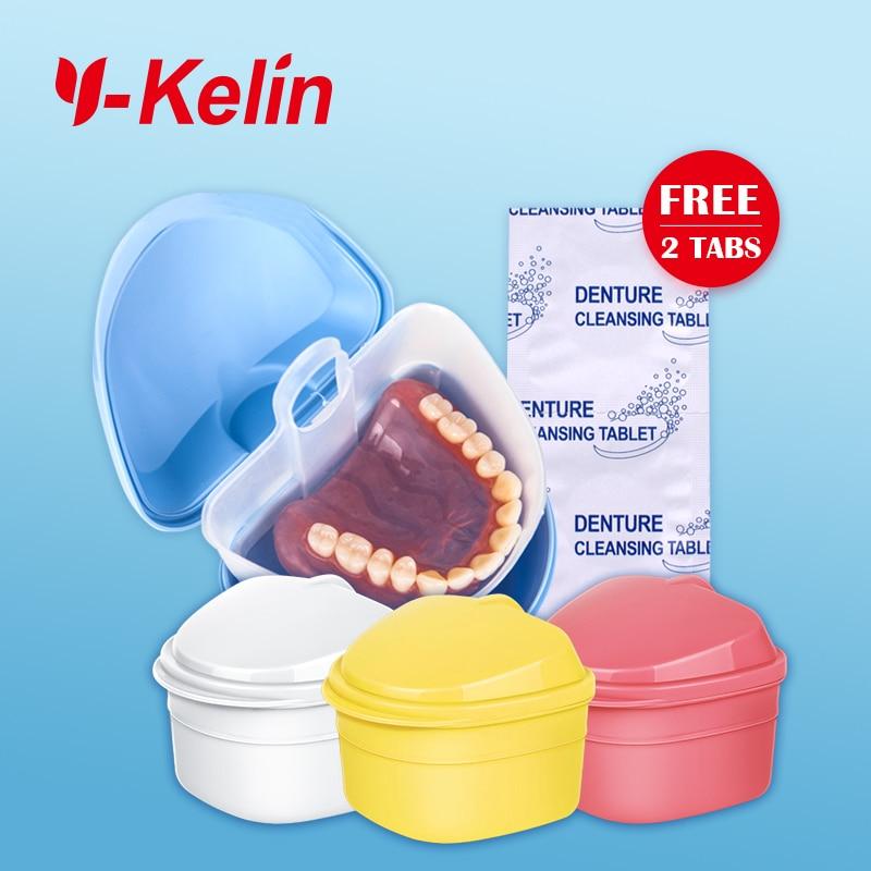 2018 Nueva caja de dentaduras Y-kelin Caja de baño de prótesis de alta calidad dentadura completa contenedor de prótesis caja de baño de 4 piezas regalos gratis