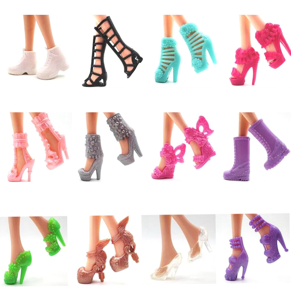NK 12 Pairs Doll Shoes Fashion Cute Heels Colorful Assorted Shoes For Barbie Doll Accessories Mix Styles Baby Toy DZ