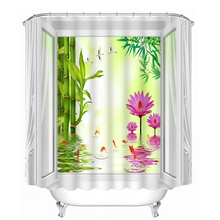 3D Bamboo Forest and Lotus Pattern Shower Curtains Seascape Bathroom Curtain Waterproof Thickened Bath Customizable