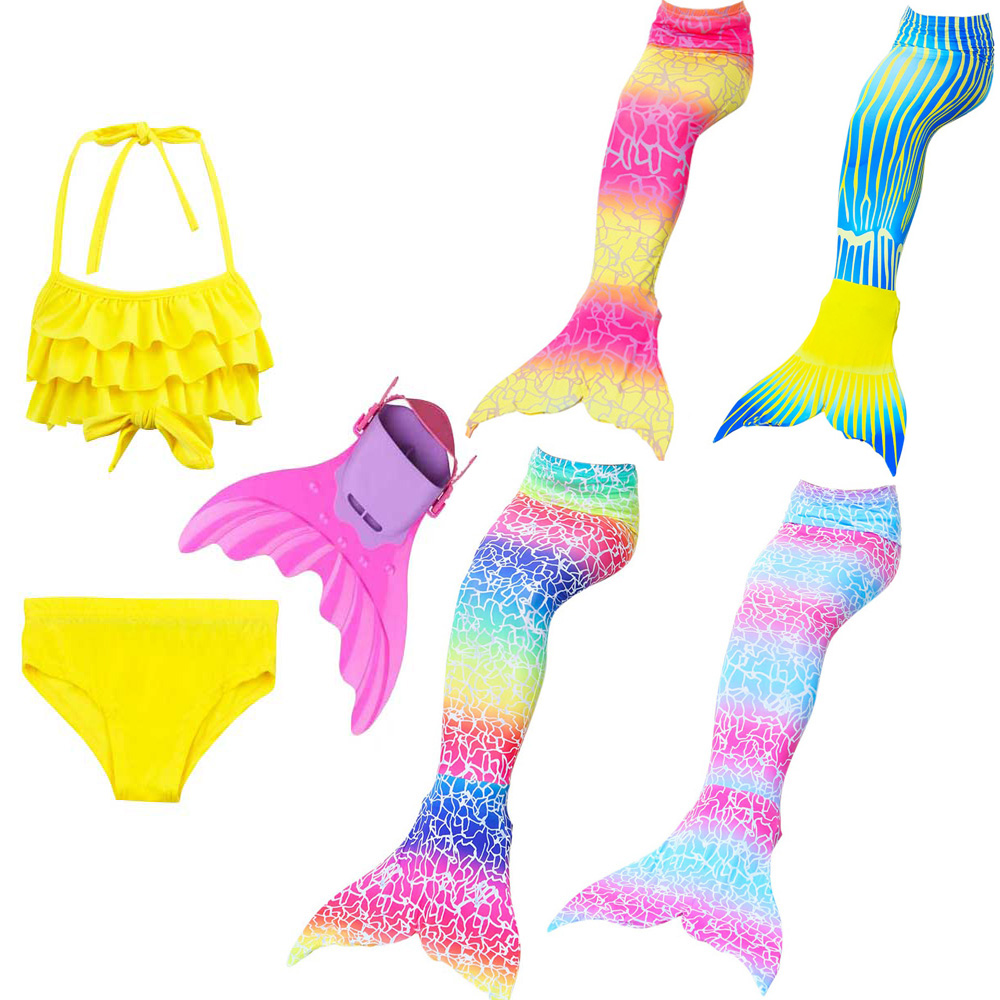New Style Girls Children Mermaid Tail Swimsuit For Swimming Cosplay Kids Swimmable Mermaid Tail Costume And Bikini Bathing Suit Providing Amenities For The People; Making Life Easier For The Population Mother & Kids