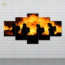 Firemen 5 Pieces Canvas Wall Art Paintings Picture Print on for Home Decoration Living Room