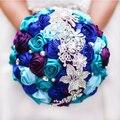 Невеста с цветами в руках, новое прибытие Романтическая Свадьба Красочный Роуз Невесты Букет, Королевский синий бирюзовый фиолетовый свадебные брошь букеты