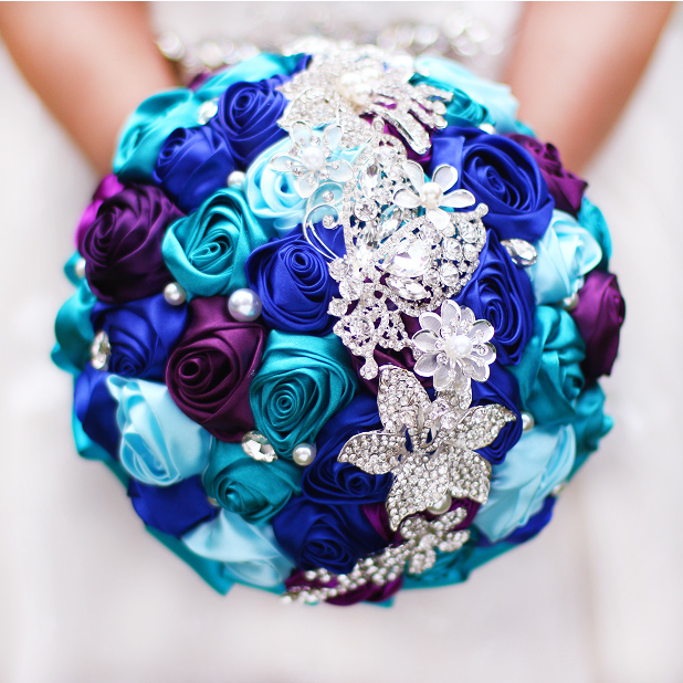 Teal And Purple Wedding Flowers: Bride Holding Flowers, New Arrival Romantic Wedding