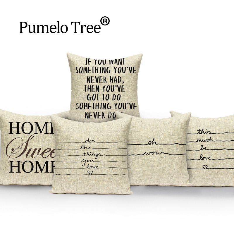 Words Quotes Pillow Case White Pillow Flower Cushion Covers custom linen Letter Pillow Cover Home Sofa
