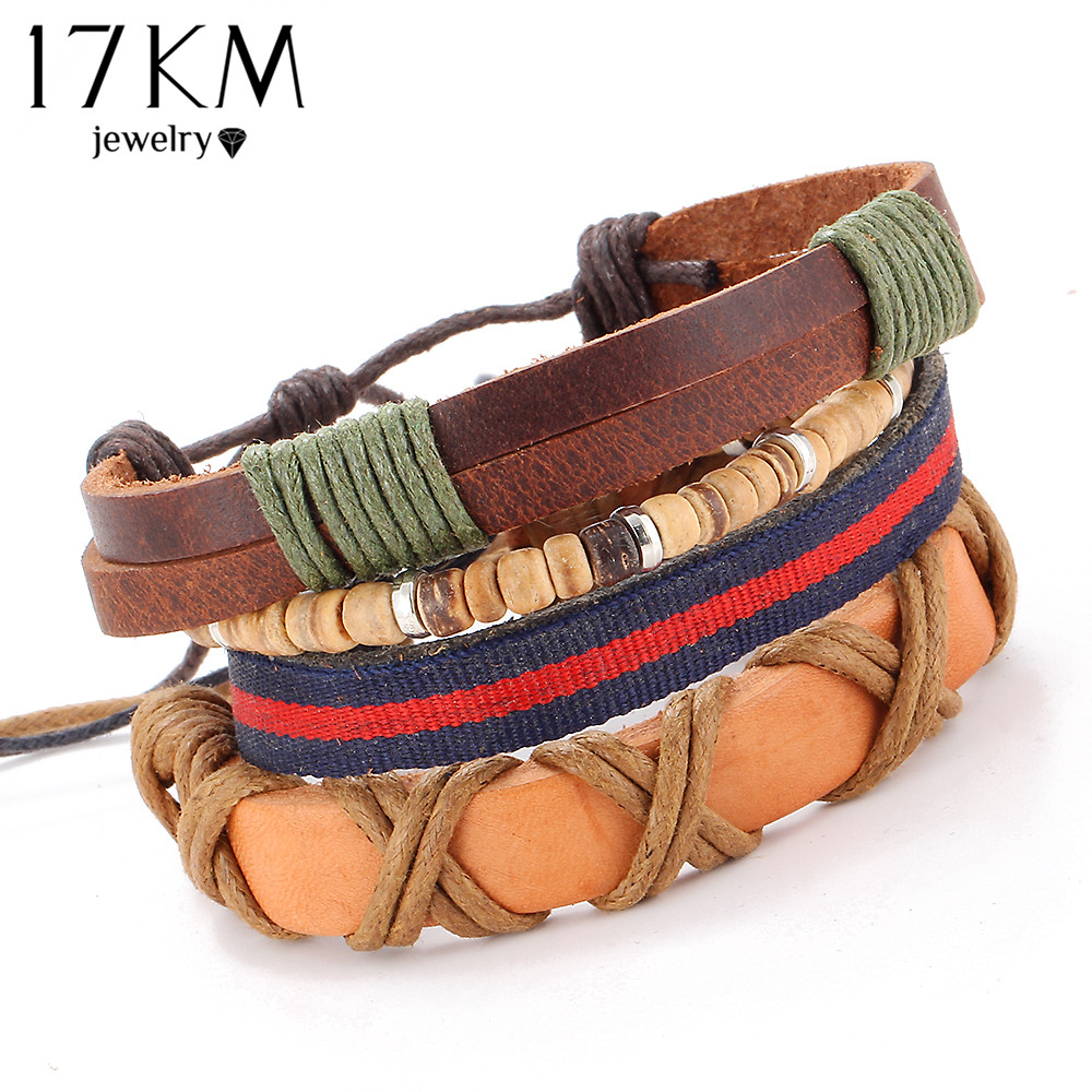 17KM 4 PCS/SET Vintage Leather Bracelet 2016 Charm Beads Jewelry Wristband boho Statement Bracelet for Women Men Bijoux