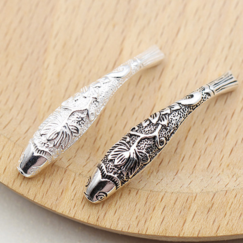 2pcs of 925 Sterling Silver Curved Fish Tube Beads for Bracelet
