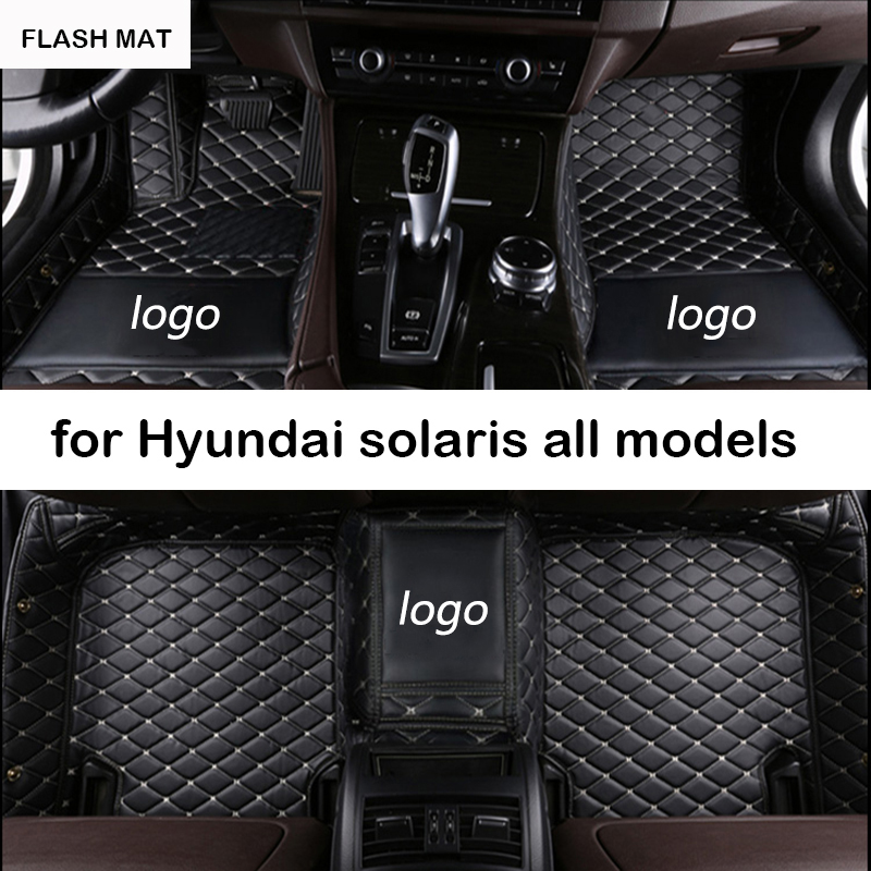 Custom LOGO car floor mats for hyundai solaris hyundai creta elantra elantra santa fe tucson ix25 ix35 auto accessories car mats hyundai tucson yilantelang динамический ruinaxin победы ms хидайят ix35 auto окно генератор лифта преобразования