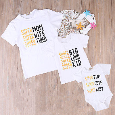 Newborn Toddler Baby Boys Girls Family Matching Set Romper T-shirt Tops Outfits