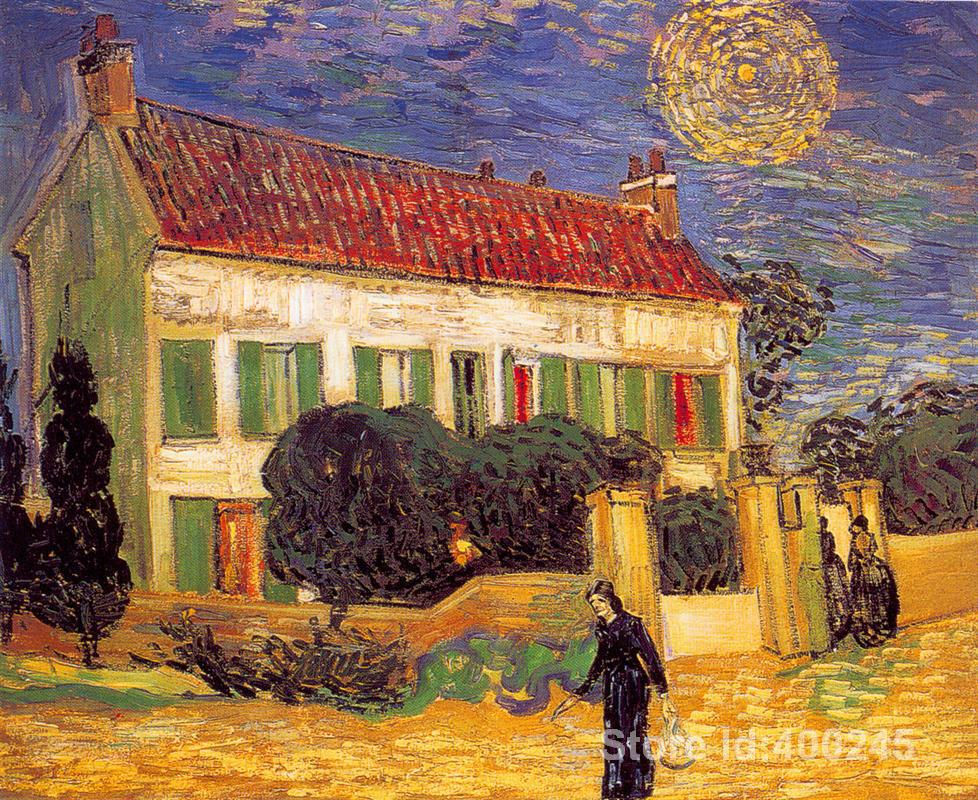Impressionist art White House at Night Vincent Van Gogh paintings home decor Handmade High quality