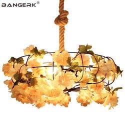 W stylu Vintage kreatywny konopnej liny żelaza lampa wisząca LED przemysłowe sztuczna roślina wiszące światła Loft Decor jadalnia światła w Wiszące lampki od Lampy i oświetlenie na