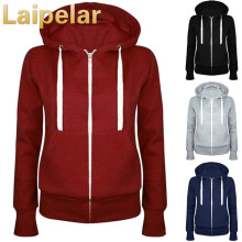 Laipelar Fashion Women Solid Zip Up Hoodies Sweatshirt Hooded Long Sleeve Autumn Winter Coat Tops Outwear
