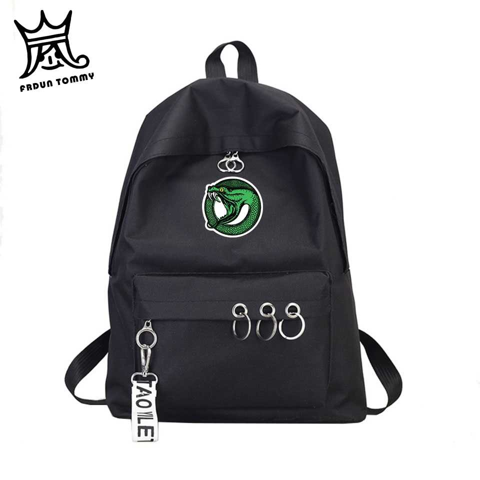 Frdun Tommy Riverdale Backpack Women Hip Hop Harajuku Canvas School TV Show Riverdale Travel Bag Backpack Key Ring Femme bag