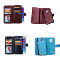 PU Leather Multifunction Wallet Flip Case For Samsung Galaxy Note 4 5 Note4 Note5 Back Cover With Card Slot Cell Phone