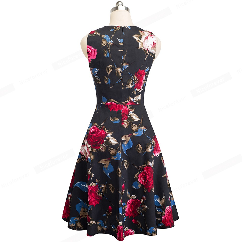 Nice-forever Vintage Elegant Embroidery Floral Lace Patchwork vestidos A-Line Pinup Business Women Party Flare Swing Dress A079 56