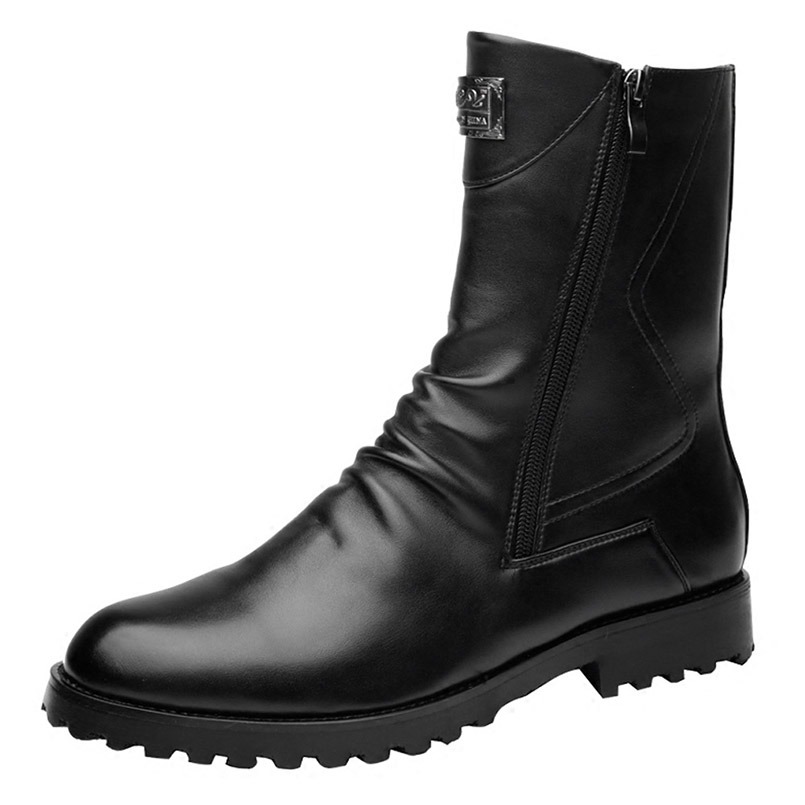MINGPINSTYLE High Help Men Shoes Autumn/Winter Genuine Leather Men's Martin Boots Fashion Casual Black Motorcycle Boots men shoes martin boots genuine leather male fashion casual shoe to help the high wear water resistant tooling boots