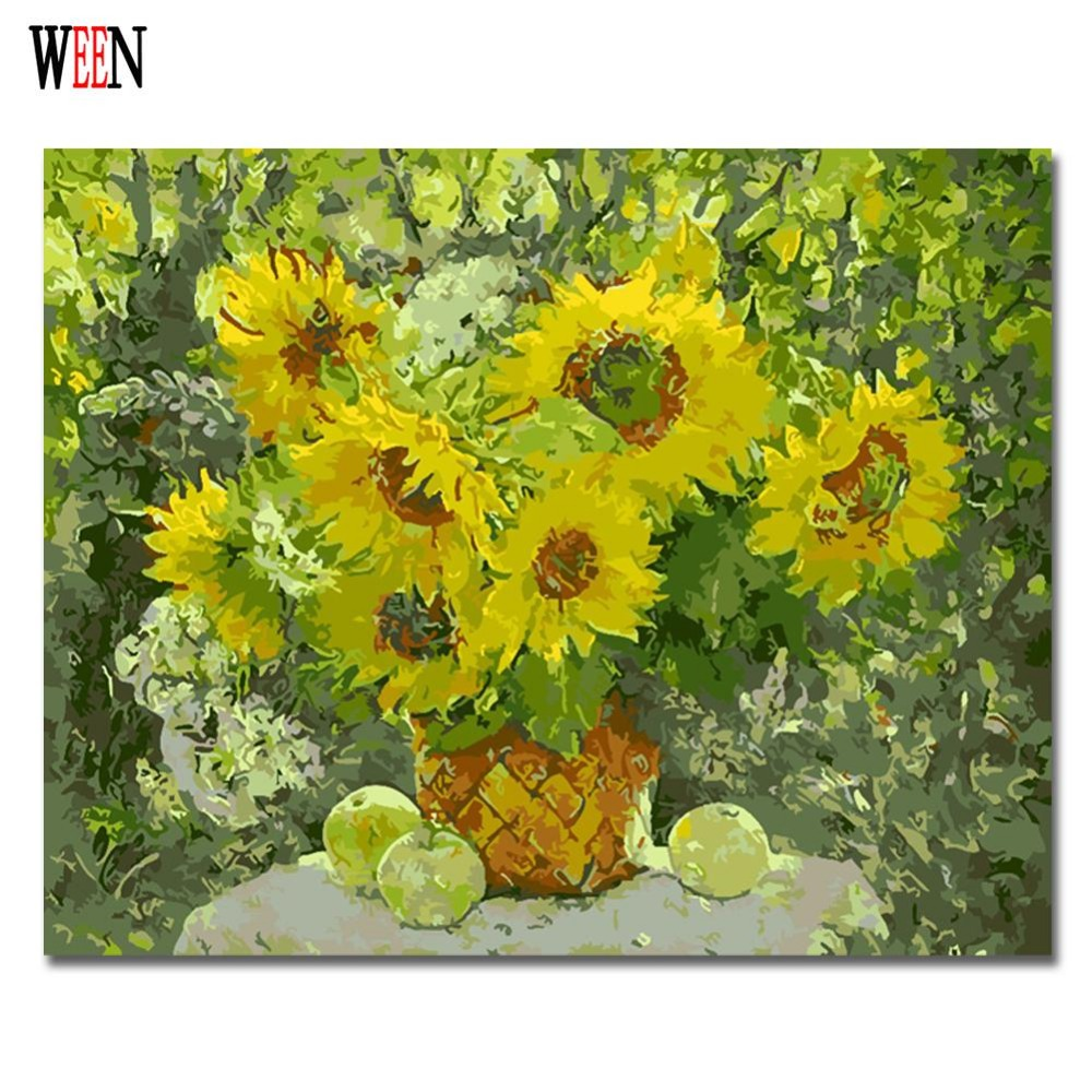 WEEN Sunflower Painting By Numbers On Canvas DIY Handpainted Wall ...