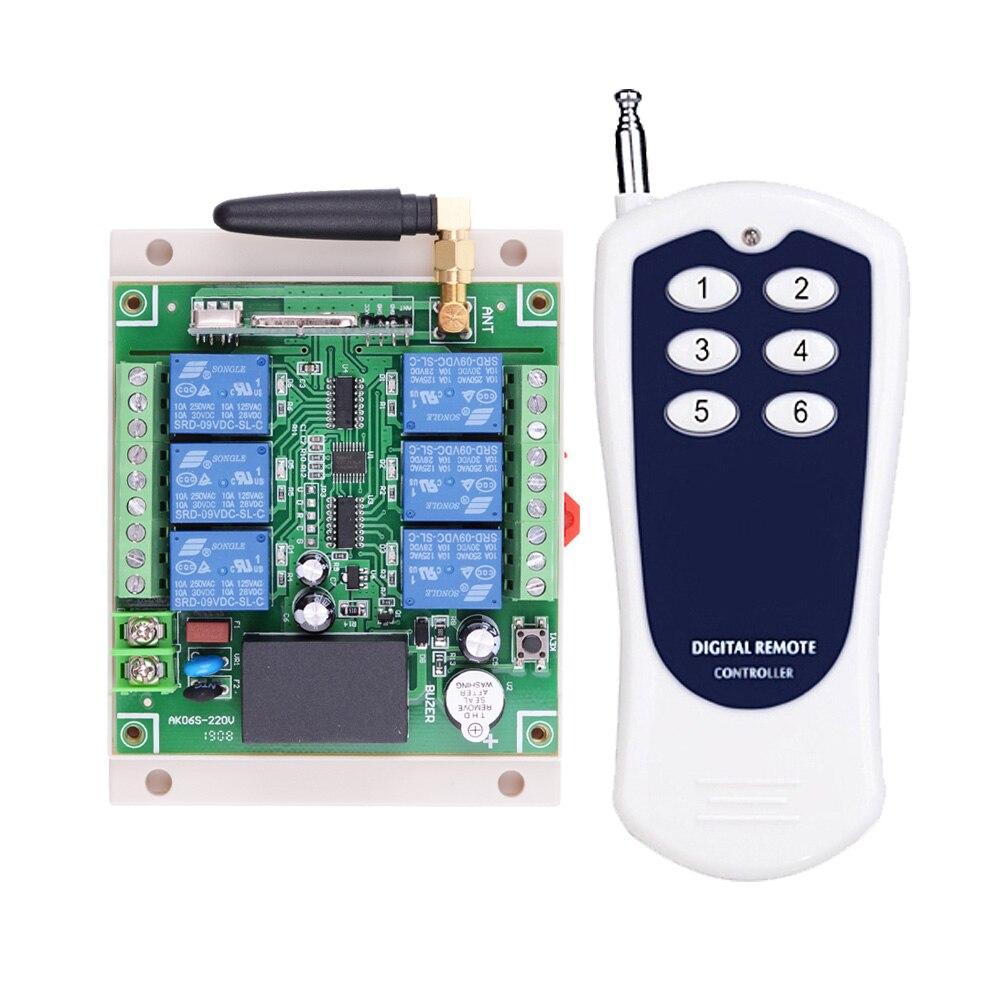 Sistema de interruptor de Control remoto inalámbrico 6CH 10A RF 110 V 220 V 250 V con 100 M 500 M transmisor de larga distancia para Sector Industrial-in Conmutadores from Luces e iluminación on AliExpress - 11.11_Double 11_Singles' Day 1