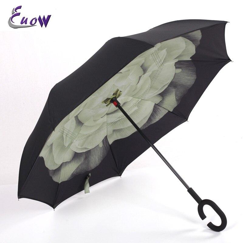 Euow 2017 Dames Creatieve winddichte omgekeerde paraplu Opklapbare - Huishouden