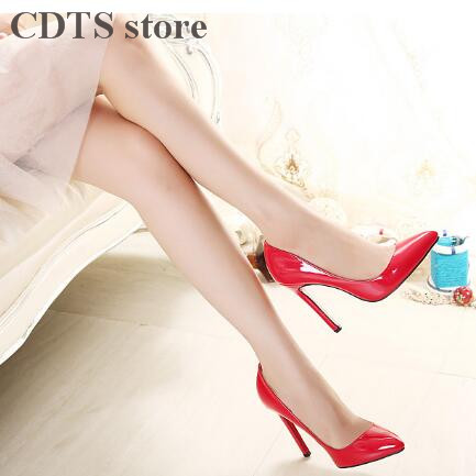 ФОТО CDTS Plus:35-45 46 new brand Spring/Autumn 12cm thin heels sexy Patent Leather bottoms cosplay pumps women's wedding shoes