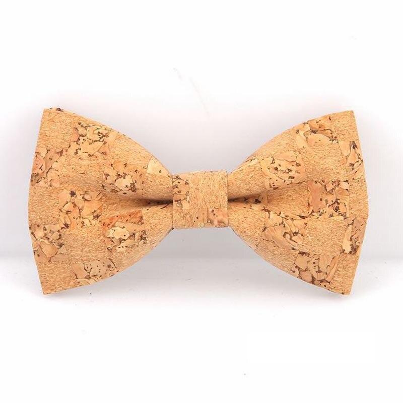 Mantieqingway Corkwood Bow Ties For Men Wooden Bowtie For Wedding Grooms Gravata Slim Collar Novelty Wood Neck Ties Cravat
