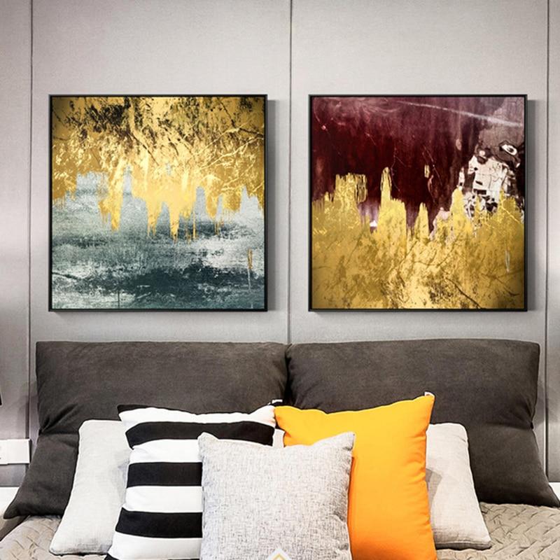 Emas Mengalir Cat Kanvas Lukisan Abstrak Gambar Dinding Untuk Ruang - Dekorasi rumah - Foto 3
