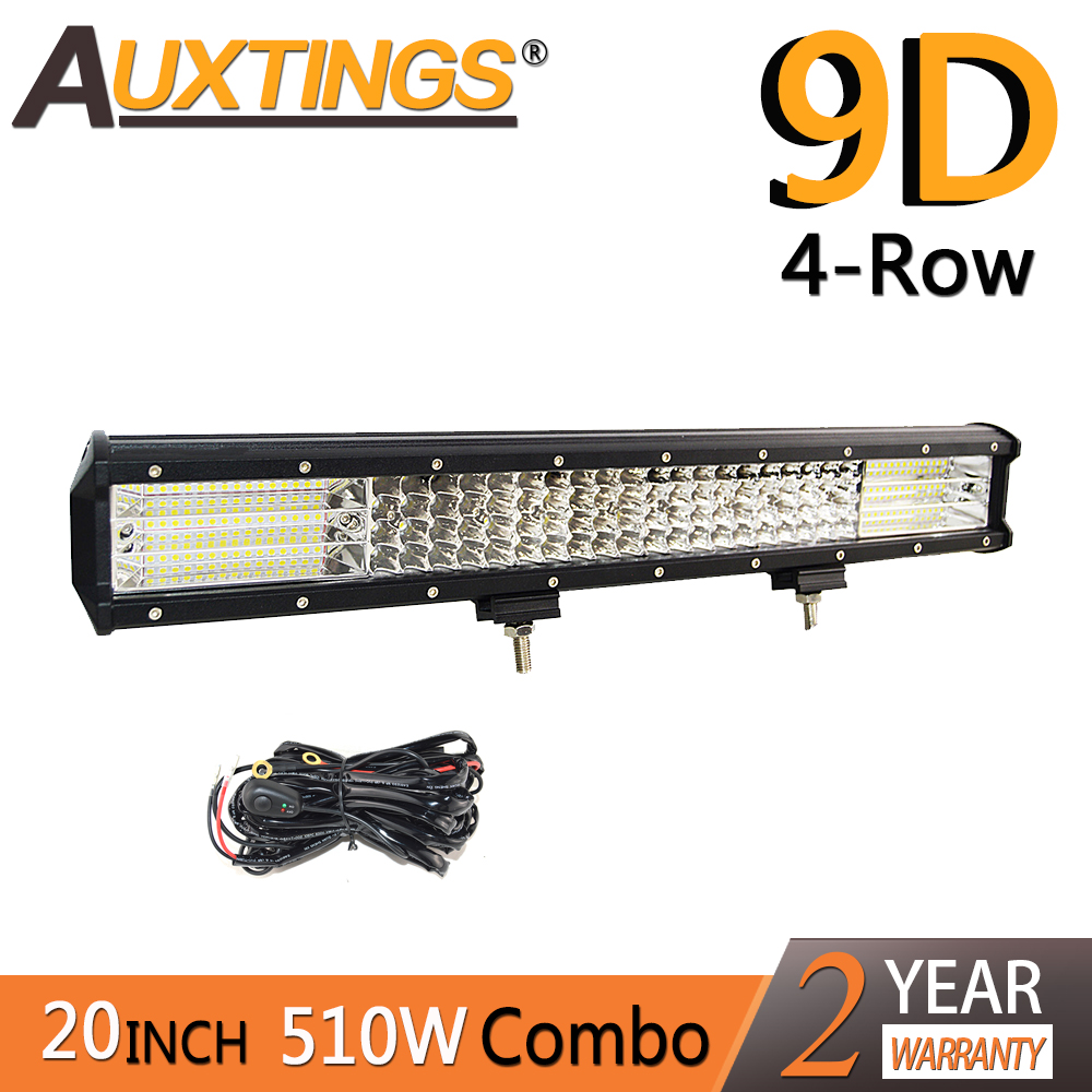 Auxtings 20inch 510w 20'' Quad Rows Movable Bracket Led Work Light  High Power 9D LED Light Bar Offroad 4x4 Car Light 12V 24V