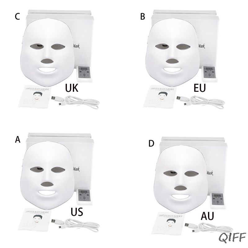 LED Light Facial Mask Therapy 7 Colors Skin Rejuvenation Acne Treatment Anti-Wrinkle Beauty Whitening Instrument Face Care(China)