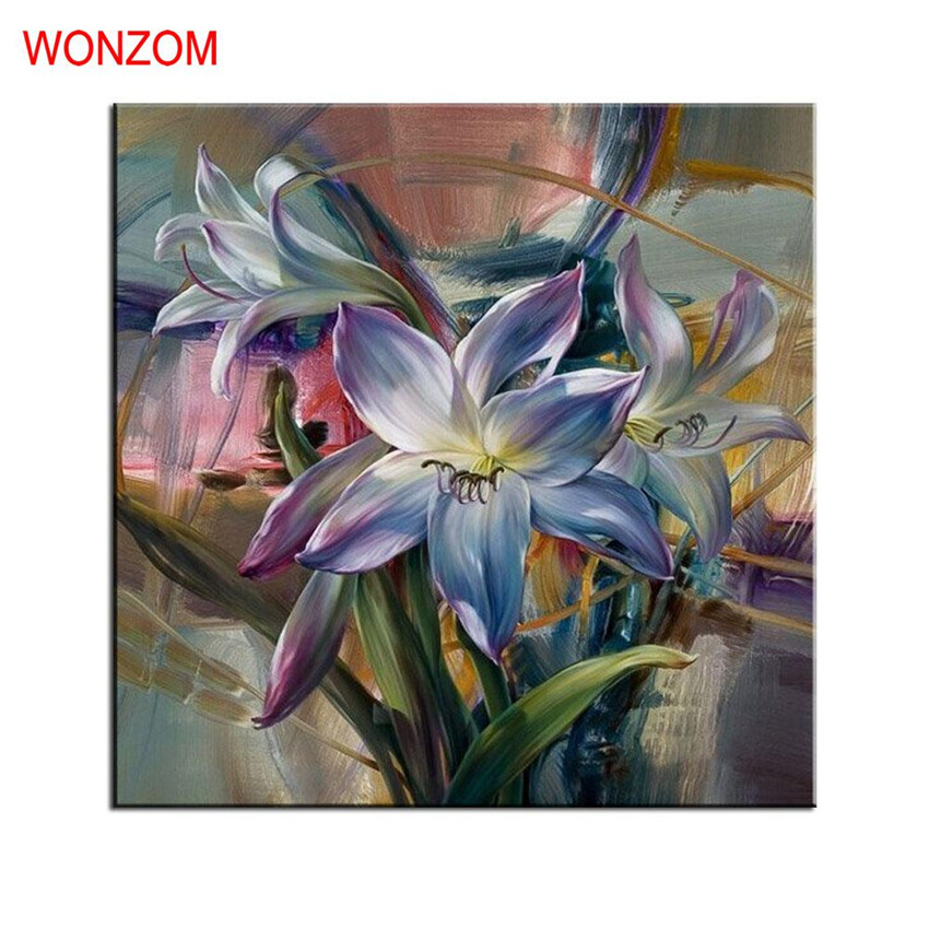 Lily flower painting by numbers on canvas diy handpainted for What paint for canvas