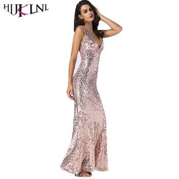 HIJKLNL Sexy V-neck Backless Long Dress Women Sleeveless Sequin Mermaid Maxi Dress 2018 Ladies Evening Party Dress Vestido NA597