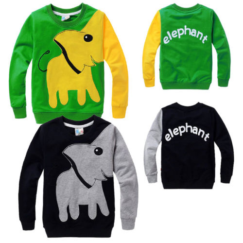 цены Casual Toddler Kids Boys Elephant Long Sleeve Sport Pullover Tops Cotton T shirt Sweatshirt