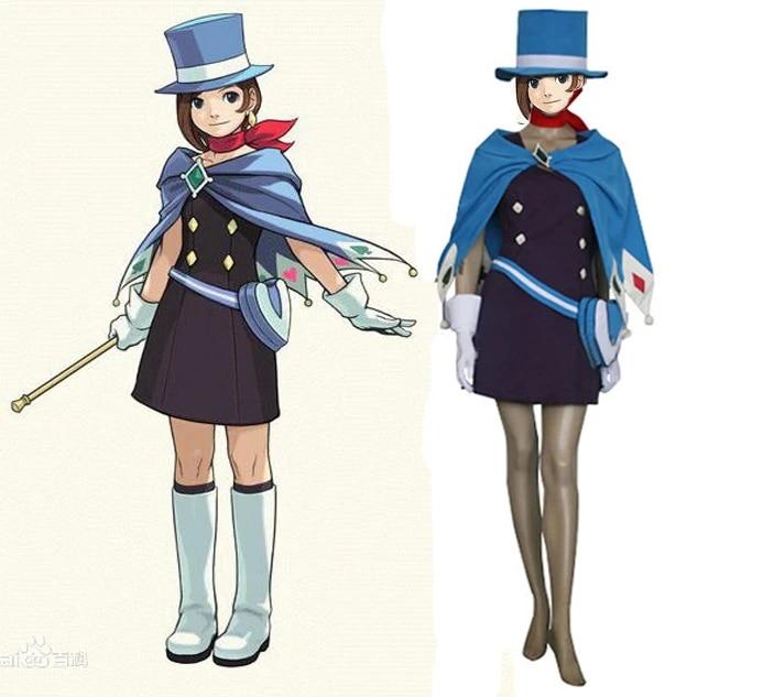 Gyakuten Saiban Phoenix Wright Ace Attorney Trucy Wright Naruhodou Minuki Cosplay Costume with bag and hat|cosplay costume|phoenix wrightace attorney - AliExpress