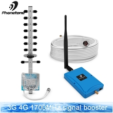 Full smart 2g 3g 4g mobile signal booster 1700mhz Band 4 Gain 72dB mini cell phone signgal repeater amplifier & ALC function kit