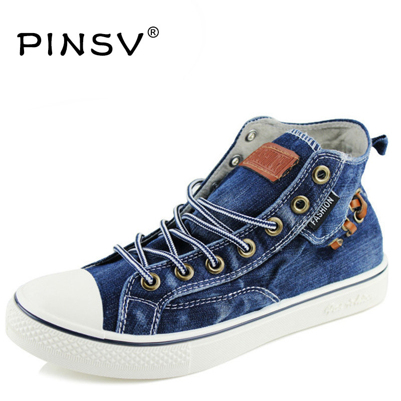 Sneakers Men Casual Shoes Denim Canvas Shoes Men Sneakers High Top Black Men Shoes Flats Zapatos Mujer Chaussure Homme 2017lace up superstar chaussure homme sapato masculino zapatos hombre high top rhinestones crystal silver casual shoes men flats