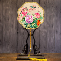 1Double sided Embroidery Classical Silk Small Fan Chinese Style Antiquity Round Fan Palace Female Embroidery Flower Fan
