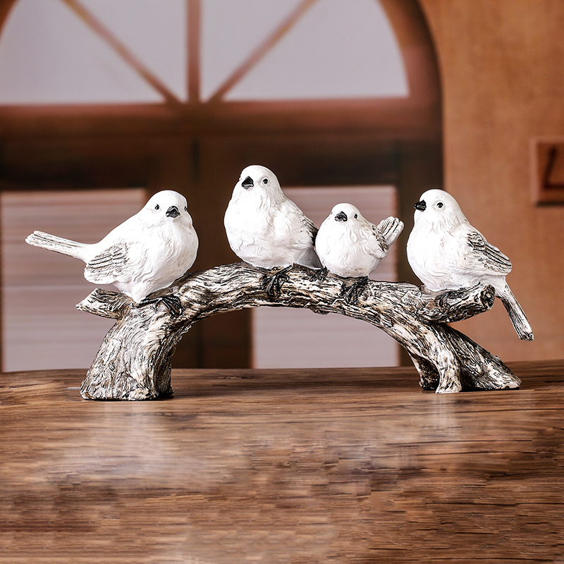 Vintage Tree Bird Statue Hand Painted Polyresin Flock Birds Sculpture Home Decor Gift Craft Embellishment Ornament Accessories