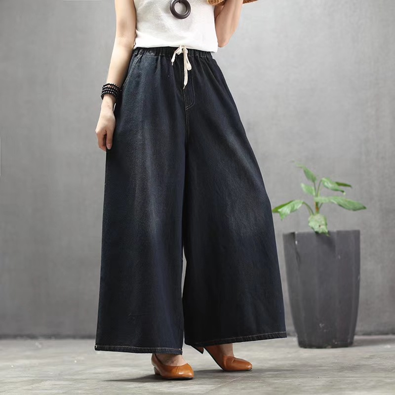 2019 Spring Summer New Woman Plus Size Denim Wide Leg Pants Solid Elastic High Waist Casual Loose Jeans Pants Pocket Trousers in Jeans from Women 39 s Clothing
