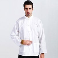 Male Spring And Autumn Top Tang Suit Shirt Long Sleeve Chinese Style Vintage Tai Chi Clothing