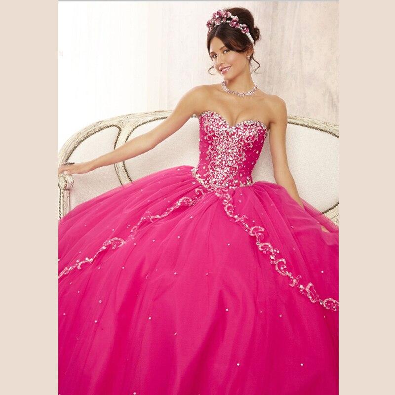 Nuevo concurso de vestidos fiesta fucsia 15 años capas de tul Sweetheart espumoso con cuentas vestido