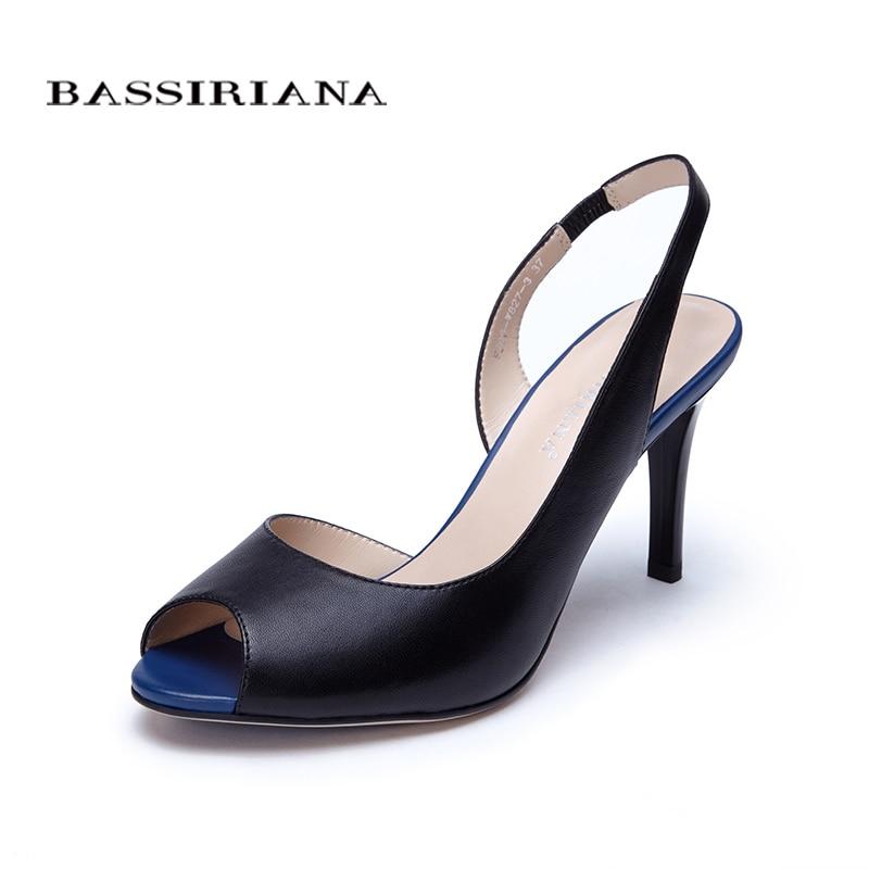Високі тонкі каблуки Сандалії для жінок Основні моделі Натуральна шкіра Повсякденні 35-40size Сандалії жінки Peep toe Безкоштовна доставка BASSIRIANA  t