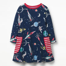 Jumping Meters Space Printed Autumn Princess Dress 2018 Brand New Kids Dresses Baby Girls Clothes Long Sleeve Children Costume