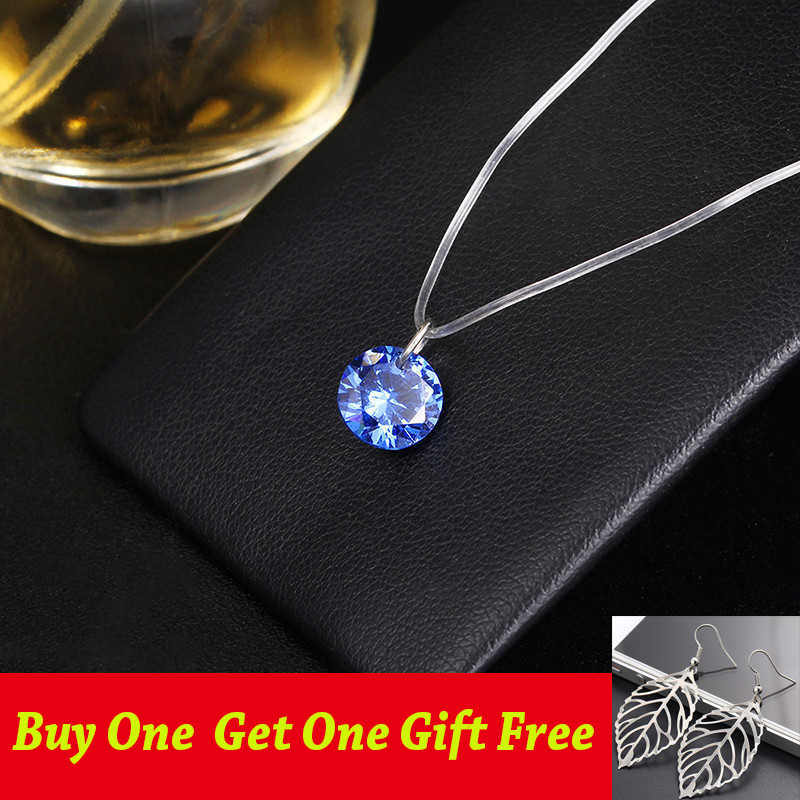 Crystal Necklace Pendant Female Short Gold Chain Necklace Pendant Necklace Transparent Fishing line Necklace Chocker neck