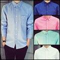 Plus Size 5XL Men's Casual Shirts New 2015 Autumn Fashion Brand Men Clothes Slim Long Sleeve Shirt Solid Cotton Casual Men Shirt