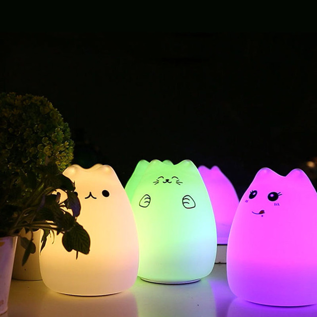 Cat Light Silicone Led Kids Night Baby Usb Rechargeable Sensor Touch Lamp Children Cute